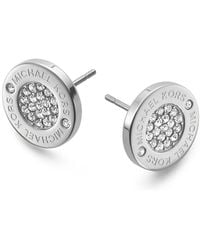 Michael Kors - Pavé Logo Stud Earrings - Lyst
