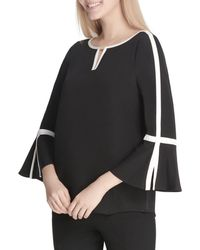 Calvin Klein - Piped Bell Sleeve Top - Lyst