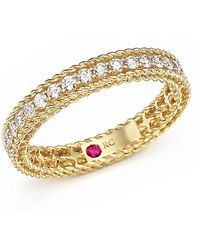 Roberto Coin - 18k Yellow Gold Symphony Braided Ring With Diamonds - Lyst
