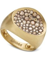 Antonini - 18k Yellow Gold Large Matte Matera Pavé Cognac Diamond Ring - Lyst