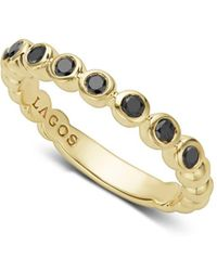 Lagos - Gold & Black Caviar Collection 18k Gold & Black Diamond Ring - Lyst