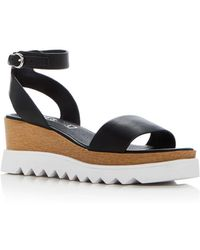 Sol Sana - Women's Tray Leather Ankle Strap Platform Wedge Sandals - Lyst