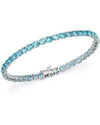 Bloomingdale's - Blue Topaz Tennis Bracelet In 14k White Gold - Lyst
