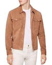 c6c47ed4 Reiss Jagger - Suede Trucker Jacket in Brown for Men - Lyst