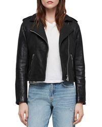 AllSaints - Leather Hadi Biker Jacket - Lyst