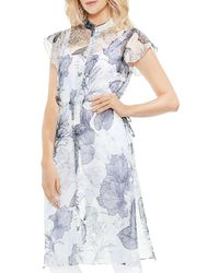 Vince Camuto - Sheer Flutter-sleeve Floral-print Tunic - Lyst