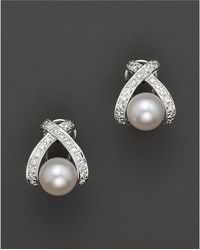 "Bloomingdale's - Cultured Pearl ""x"" Earrings With Diamonds, 7mm - Lyst"
