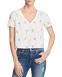 Honey Punch - Tropical Print Cropped Tee - Lyst