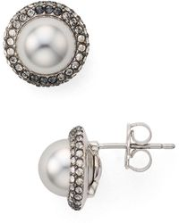 Nadri - Framed Button Earrings - Lyst
