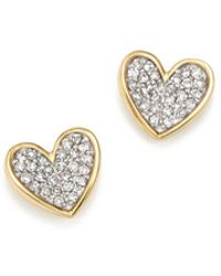 Adina Reyter - 14k Yellow Gold Tiny Pavé Diamond Folded Heart Stud Earrings - Lyst