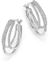 Bloomingdale's - Diamond Triple Row Hoop Earrings In 14k White Gold, .25 Ct. T.w. - Lyst