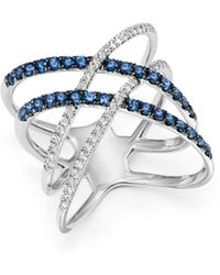 Bloomingdale's - Blue Sapphire & Diamond Crossover Ring In 14k White Gold - Lyst