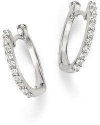 Roberto Coin - 18k White Gold Small Diamond Hoop Earrings - Lyst