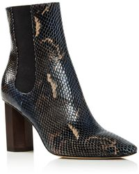 Donald J Pliner - Women's Laila Round Toe Snake-embossed Leather Booties - Lyst