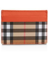 Burberry - Vintage Check & Leather Card Case - Lyst