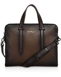 Ferragamo | Firenze Glow Pebbled Leather Slim Briefcase | Lyst