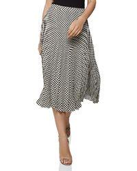 010d719ac Reiss - Abigail Pleated Checker-print Skirt - Lyst