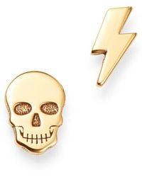 Zoe Chicco - 14k Yellow Gold Itty Bitty Skull & Lightning Bolt Stud Earrings - Lyst