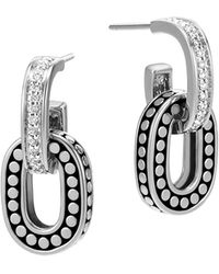 John Hardy - Sterling Silver Dot Drop Earrings With Pavé Diamonds - Lyst