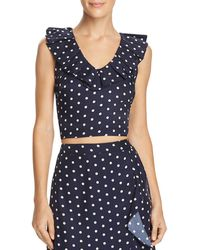 Lucy Paris - Ruffled Polka Dot Cropped Top - Lyst