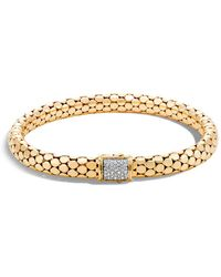John Hardy - 18k Yellow Gold Dot Small Chain Bracelet With Diamonds - Lyst