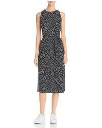 Three Dots - Belted Dot Print Midi Dress - Lyst