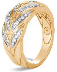 John Hardy - 18k Yellow Gold Modern Chain Pavé Diamond Small Ring - Lyst