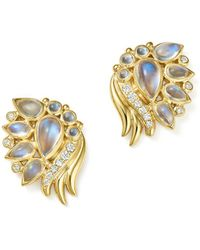 Temple St. Clair - 18k Yellow Gold Diamond And Royal Blue Moonstone Wing Earrings - Lyst