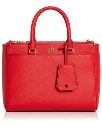 Tory Burch - Robinson Small Double Zip Leather Tote - Lyst