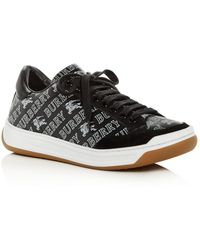 Burberry - Women's Timsbury Logo Print Leather Lace-up Sneakers - Lyst