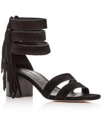Sigerson Morrison - Women's Ran Fringed Suede Block-heel Sandals - Lyst
