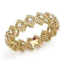 Roberto Coin - 18k Yellow Gold New Barocco Diamond Ring - Lyst