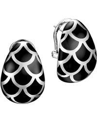 John Hardy - Naga Sterling Silver And Black Enamel Buddha Belly Earrings - Lyst