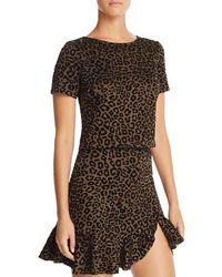 Aqua - Flocked Leopard Print Top - Lyst