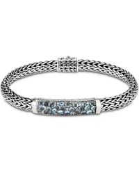 John Hardy - Sterling Silver Classic Chain Small Bracelet With London Blue Topaz, Swiss Blue Topaz & Blue Zircon - Lyst
