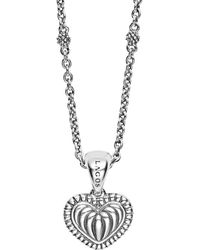Lagos - Sterling Silver Signature Caviar Fluted Heart Pendant Chain Necklace - Lyst