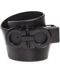 Ferragamo - Smooth Reversible Belt With Shiny Gunmetal-tone Double Gancini Buckle - Lyst