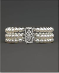 Bloomingdale's - Cultured Freshwater Pearl Bracelet With Diamond Accents In 14k White Gold, 5.5mm - Lyst