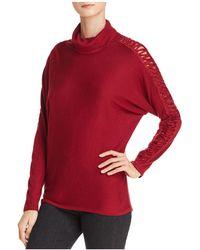 Ella Moss - Crisscross Open-knit-sleeve Turtleneck Sweater - Lyst