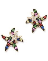 Bloomingdale's - Multi Sapphire And Diamond Starfish Earrings In 14k Yellow Gold - Lyst
