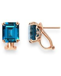 Bloomingdale's - London Blue Topaz & Diamond Drop Earrings In 14k Rose Gold - Lyst