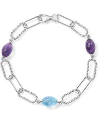 Bloomingdale's - Amethyst And Blue Topaz Twisted Link Bracelet In Sterling Silver - Lyst