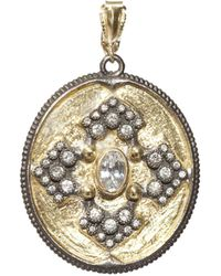 Armenta | 18k Yellow Gold And Blackened Sterling Silver Old World Midnight Diamond And White Sapphire Oval Pendant | Lyst