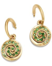 Shebee - 14k Yellow Gold Blue Sapphire Spiral Charm Drop Earrings - Lyst