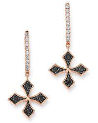 Bloomingdale's - Black & White Diamond Cross Charm Hoop Earrings In 14k Rose Gold - Lyst