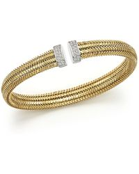 Roberto Coin - 18k Yellow Gold Primavera Woven Bracelet With Diamonds - Lyst