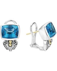 Lagos - 18k Gold And Sterling Silver Caviar Color Stud Huggie Drop Earrings With Swiss Blue Topaz - Lyst