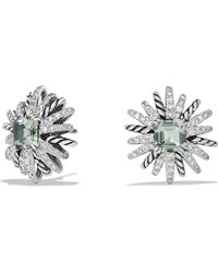 David Yurman - Starburst Earrings With Diamonds And Prasiolite In Silver - Lyst