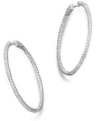 Bloomingdale's - Diamond Inside Out Hoop Earrings In 14k White Gold, 2.0 Ct. T.w. - Lyst