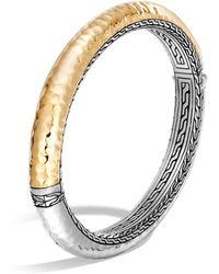 John Hardy - Sterling Silver And 18k Bonded Gold Classic Chain Hammered Oval Hinged Bangle - Lyst